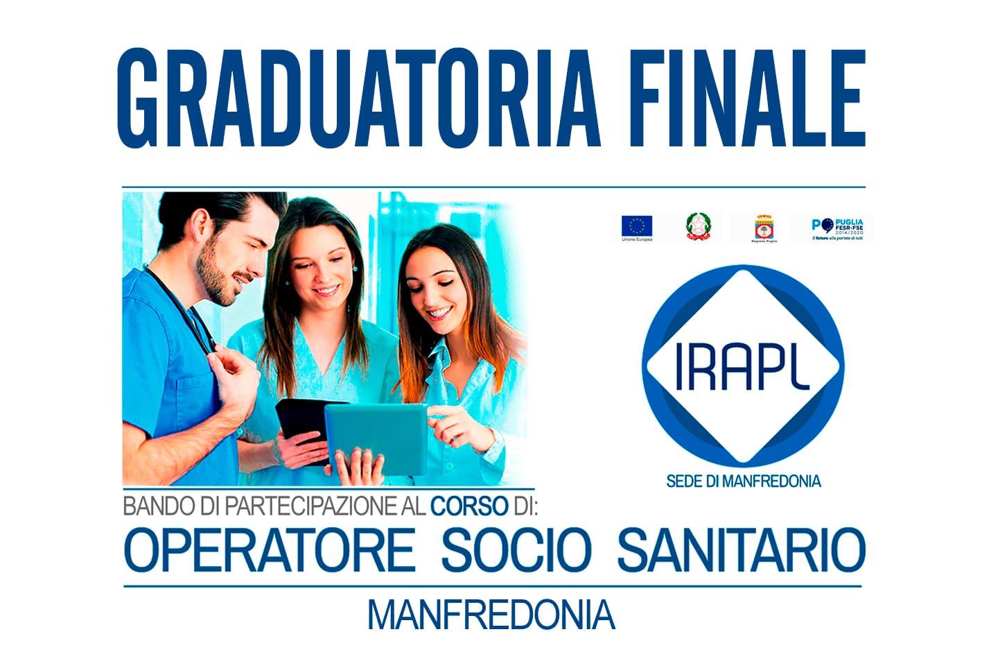 Graduatoria Finale - Corso Operatore Socio Sanitario OSS  IRAPL sede di Manfredonia